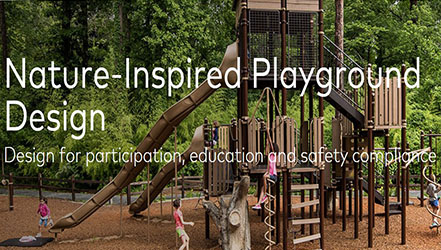"Words ""nature inspired playground design"" overlaid on image of playground"