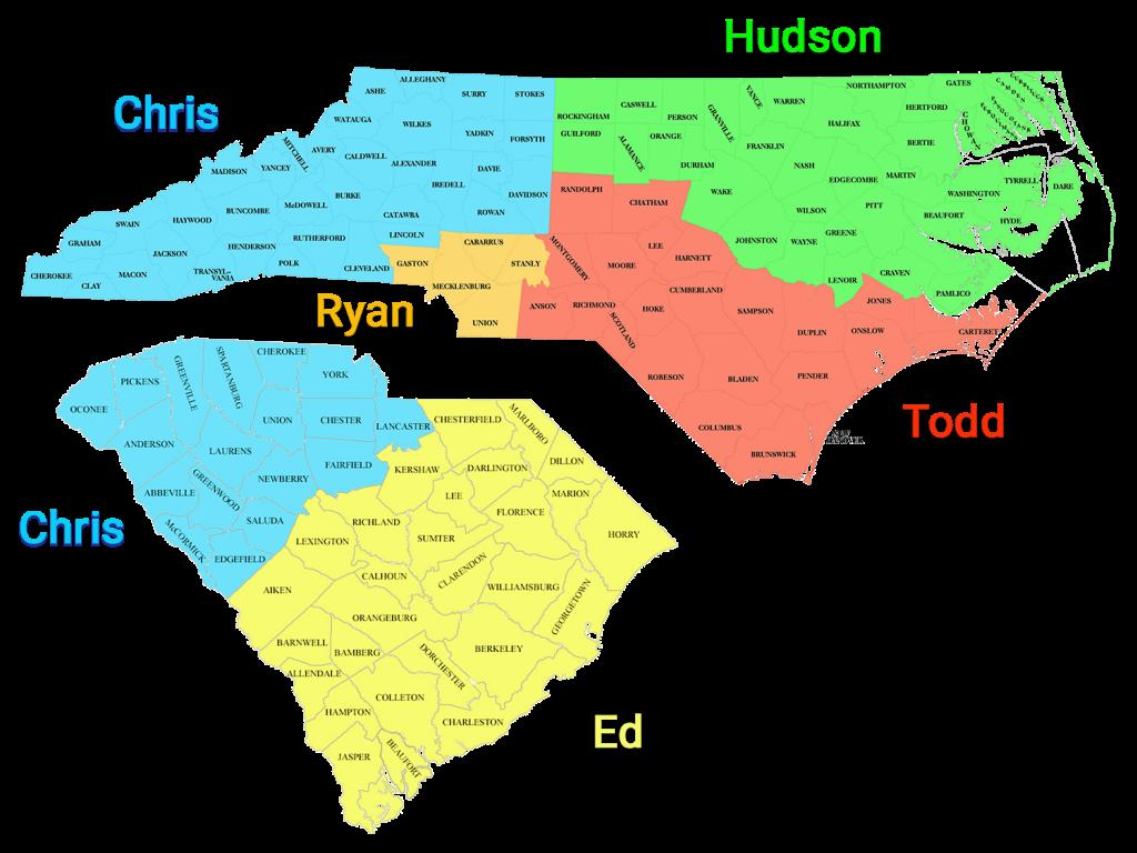 Sales map of north and south carolina