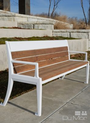 White and brown park bench image