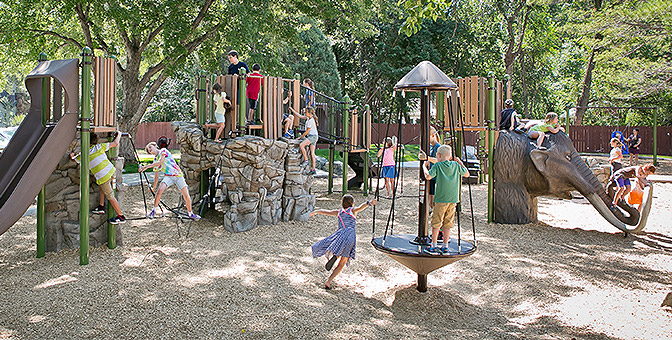 Kids playing on playground image