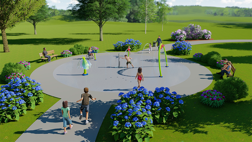 This aqua play design that includes multiple water spray features to cool off while staying active.