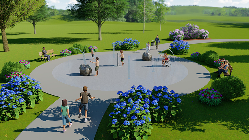 Natural surroundings provide delightful water play and beauty to be enjoyed by all ages.